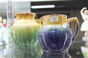 Sale 8217 - Lot 4 - John Campbell Green & Yellow Vase & John Campbell Blue & Yellow Glaze Jug