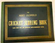Sale 8460C - Lot 46 - Bert Oldfield Cricket Scoring Book. Very neatly filled in on first three pages - two games. Very good.