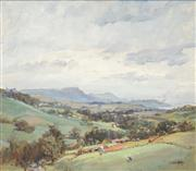 Sale 8526 - Lot 596 - Henry Edgecombe (1881 - 1954) - Overlooking the Valley, 1951 36.5 x 44.5cm