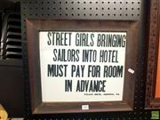 Sale 8640 - Lot 2089 - Hotel Sign