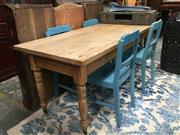 Sale 8714 - Lot 1006 - Rustic Pine Kitchen Table, with rectangular top & turned legs with brass castors
