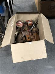 Sale 8759 - Lot 2373 - Box of Tools & Metal Items including Wood Working Planes