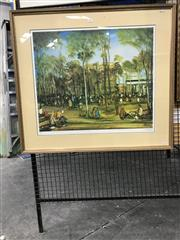 Sale 8794 - Lot 2037 - Pro Hart Decorative Print ed. 3/100, 76 x 85.5cm (frame), signed lower right