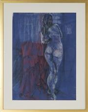 Sale 8867A - Lot 5094 - Merryland Gibson - Nude in a Blue Room 64.5 x 47.5