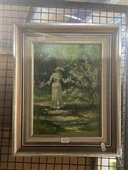 Sale 8898 - Lot 2018 - Joseph Sayer - Lady with the Blossoms, oil on canvas on board, 39.5 x 32 cm (frame), signed lower right