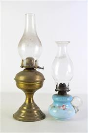 Sale 8948 - Lot 88 - Brass kerosene lamp (H41.5cm) together with a smaller glass example (H31cm)