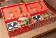 Sale 8984W - Lot 545 - A boxed pair of Fuji Koh surveyors transit points or targets in painted red cases, each width 34cm