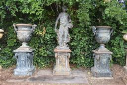 Sale 9135H - Lot 173 - A fine aged cast iron statue on plinth, small repair to rear base of statue, statue: 1.5M Height, Base 84cm Height