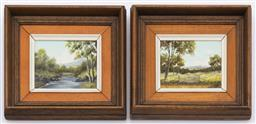 Sale 9099 - Lot 62 - A pair of framed artworks by John A Jennings depicting country scenes. 7cm x 8cm