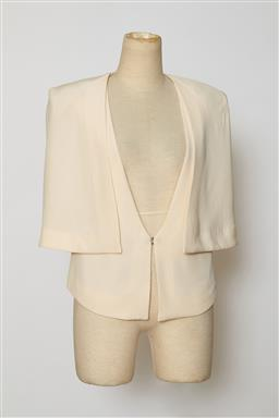 Sale 9095F - Lot 77 - A Sass n Bide cream silk top with open sleeves, size 6.