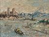 Sale 3847 - Lot 105 - GEORGE FEATHER LAWRENCE (1901 - 81) - Harbour Scene, 1975 33.5 x 44 cm