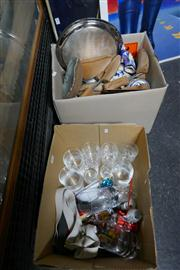 Sale 8362 - Lot 2504 - 2 Boxes of Sundries incl. Crystal & Binoculars