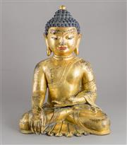 Sale 8536 - Lot 69 - A large and finely cast gilded Buddha in the seated dhyanasana position with his right hand in bhumisparshamudra, outswept robe reve...