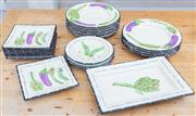 Sale 8550H - Lot 163 - A ceramic plate set by Living Ari, Al dente with handpainted aubergines artichoke and peas including ten dinner plates, three bread...