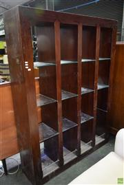 Sale 8566 - Lot 1761 - Timber Open Bookcase with 12 Glass Shelves (185.5 x 35 x 138)
