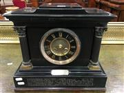 Sale 8666 - Lot 1046 - Late 19th Century French Slate Mantle Clock, by Vincenti & Cie, with recessed black & gilt dial (some small chips to case) (Pendulum...
