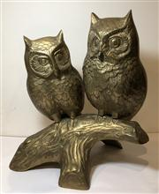 Sale 8725A - Lot 13 - A contemporary brass owl sculpture with two birds on a branch. Height 26cm