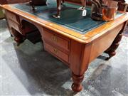 Sale 8728 - Lot 1031 - Unusual Late 19th Century Cedar Desk, with tooled green leather top, with four drawers to front, the side aprons tapering narrow & r...