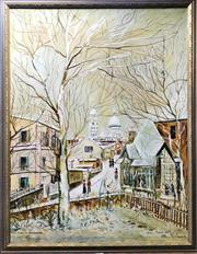 Sale 8794 - Lot 2039 - Monty B - Montmarte (After Maurice Utrillo) oil on canvas, 93 x72cm, signed lower