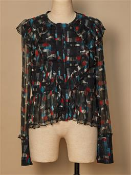 Sale 9093F - Lot 58 - A Manning cartell silk black with coloured pattern through the blouse, size 8