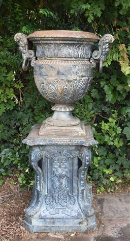 Sale 9135H - Lot 37 - A large cast iron urn and base. Urn Height: 82 cm, base Height: 84 cm x 62cm Width x 62 cm Depth