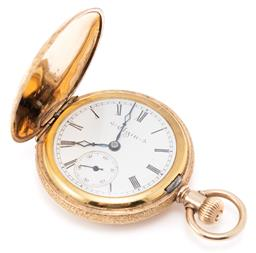 Sale 9149 - Lot 384 - AN ANTIQUE EGLIN LADYS FULL HUNTER POCKET WATCH; white dial, Roman numerals, blued hands, subsidiary seconds, stem wind and set, fi...