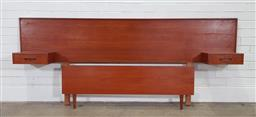 Sale 9188 - Lot 1032 - Vintage Teak bedhead with attached drawers and end (h:93 x w:224cm)