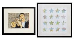 Sale 9260M - Lot 46 - Two framed works, 16 stars cut from an atlas, 53cm x 53cm together with a print of a bugle player