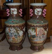 Sale 7981B - Lot 4 - Pair of Large Famille Rose Floor Vases