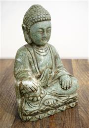 Sale 8450 - Lot 9 - Chinese carved Jade Buddha, H 21cm