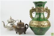 Sale 8546 - Lot 138 - Large Chinese Brass And Lacquered Vase And Two Teapots