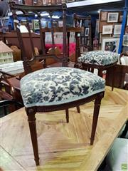 Sale 8570 - Lot 1047 - Pair of Timber Parlour Chairs with Upholstered Seat