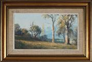 Sale 8973 - Lot 2023 - Leon Hanson (1918 - 2011) - Cottage in Autumnal Country 20.5 x 36 cm (frame: 38 x 53 x 5 cm)