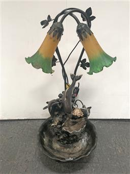 Sale 9102 - Lot 1178 - Marine Life Themed Twin Shade Table Lamp with Water Feature (h:54cm)
