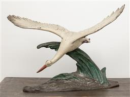 Sale 9160H - Lot 196 - After J Loriot, a cold painted metal figural group of a diving sea bird, wing span 58cm, Height 43cm