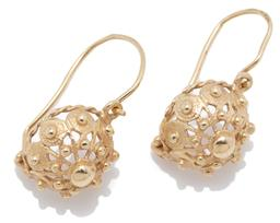 Sale 9209J - Lot 304 - A PAIR OF 14CT GOLD ANTIQUE STYLE EARRINGS; pierced domes with beaded decoration on locking shepherds hooks, length 21mm, wt. 2.95g