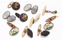 Sale 9180E - Lot 156 - Five pairs of cufflinks including rolled gold and enamelled examples