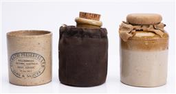 Sale 9185E - Lot 178 - A group of three pottery canisters, tallest Height 15cm