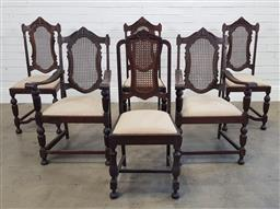 Sale 9174 - Lot 1138 - Collection of 6 matched dining chairs incl. 2 carvers (h:100 x w:60 x d:48cm)