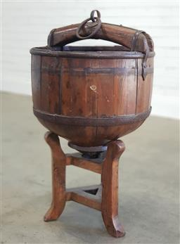 Sale 9174 - Lot 1468 - Chinese well bucket on stand (hb:86 x d:47cm)