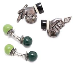 Sale 9186 - Lot 391 - TWO PAIRS OF ENAMELLED CUFFLINKS; silver bars with green enamel ball ends, and silver plated hands with cigar and lighter and enamel...
