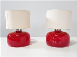 Sale 9254 - Lot 2121 - Pair of hand made glass table lamps (h:38 x d:27cm)