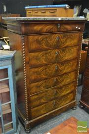 Sale 8345 - Lot 1008 - Mid 19th Century French Flame Mahogany Tall Chest of Seven Drawers, with grey marble top & barley twist corners (Key In Office)