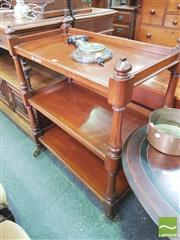 Sale 8428 - Lot 1092 - Victorian Mahogany Etagere, with three galleries all raised on turned corner supports resting on over scale brass spoke castors, H:1...