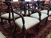 Sale 8485 - Lot 1054 - Set of Six Regency Style Mahogany Armchairs, with rope twist backs & turned legs, variously upholstered