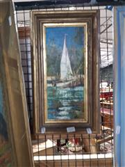 Sale 8699 - Lot 2068 - Artist Unknown - Sailboat, oil on canvas on board, 39 x 22cm (frame size), unsigned -