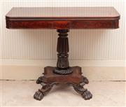 Sale 8881H - Lot 10 - A Mid C19th mahogany games table on quadraped pedastal with lappet carving and paw feet. Height 73cm x Width 91cm x Depth (unopened)...