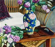 Sale 8966A - Lot 5005 - Frances Fussell (1947 - ) - Flowers, Vase and Wicker Chair 67 x 79.5 (frame: 92 x 101 x 4 cm)