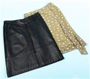 Sale 9090F - Lot 118 - A COVERS POLKADOT SKIRT size s, Together with  A LEATHER EXAMPLE size 14