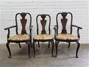 Sale 9085 - Lot 1046 - Set of Three Queen Anne Style Walnut Chairs, including two armchairs, with vase shaped burr veneer splats, drop-in seats & cabriole...